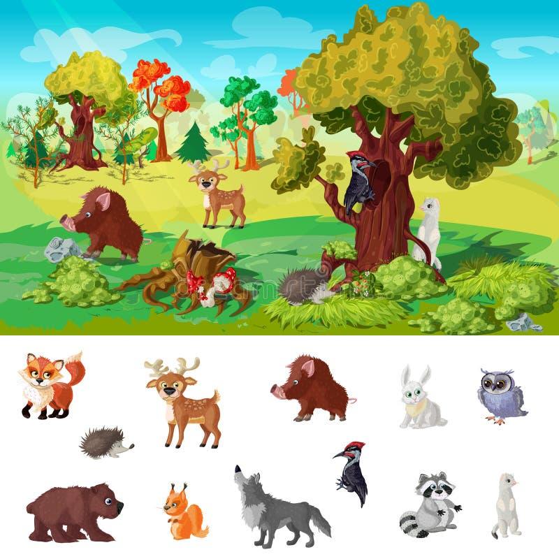 Skogsmarkdjurbegrepp vektor illustrationer