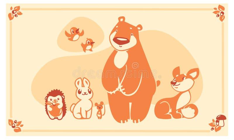 Skogsmarkdjuruppsättning Mus för igelkott för kanin för räv för vektorteckenbjörn royaltyfri illustrationer