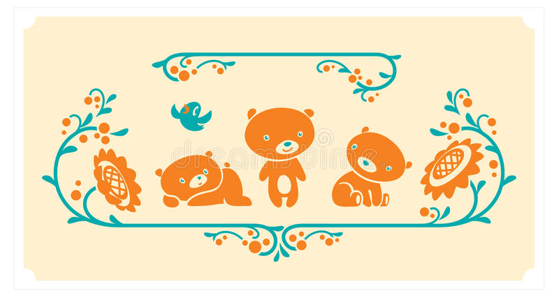 Skogsmarkdjuruppsättning Tre tecken för vektor för nallebjörnar royaltyfri illustrationer