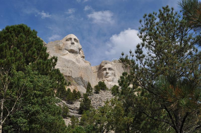 Skogsmarker för Mt Rushmore South Dakota arkivbilder
