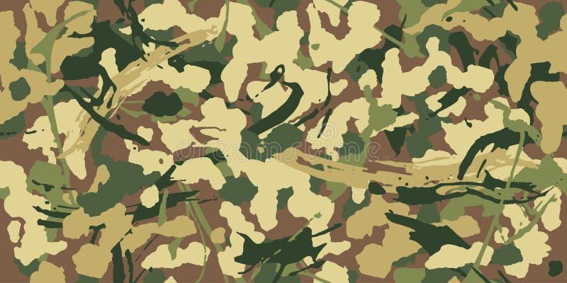 Skogsmarkgrungekamouflage, sömlös modell Militär stads- camotextur Armé eller jaga gröna och bruna färger royaltyfri illustrationer