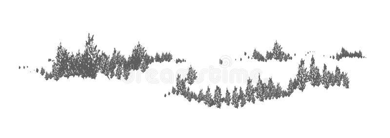 Skogsmarkhorisontalnaturligt landskap med konturer av gran-, lärk- eller granträd Skogpanoramautsikt dekorativt vektor illustrationer