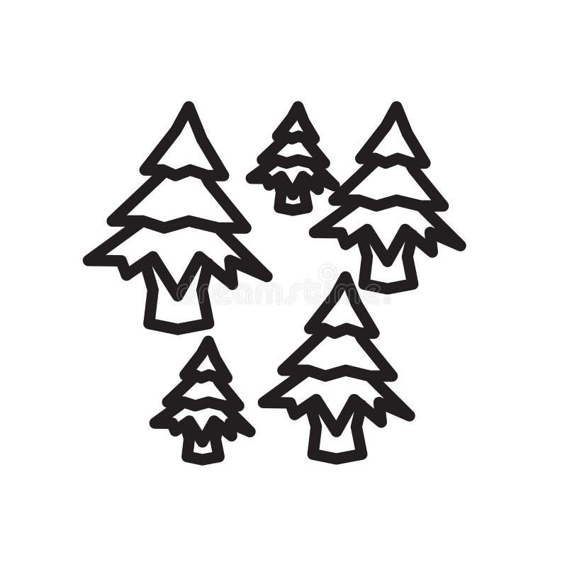 Skogsymbolsvektor som isoleras på vit bakgrund, skogtecken, linjärt symbol och slaglängddesignbeståndsdelar i översiktsstil royaltyfri illustrationer