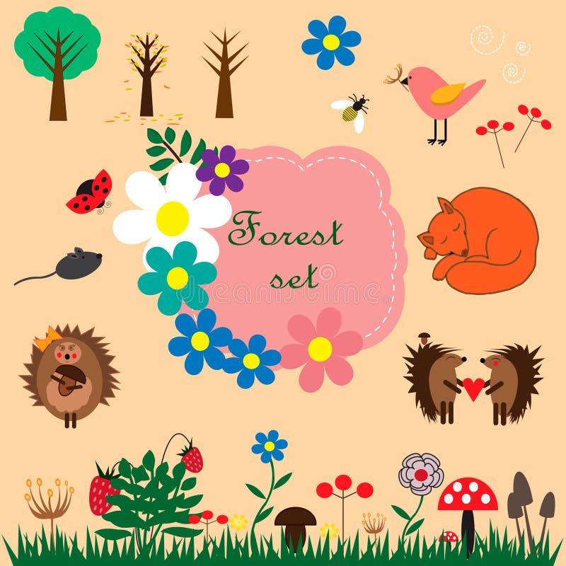 Skoguppsättning med djur, blommor, träd och annat vektor illustrationer
