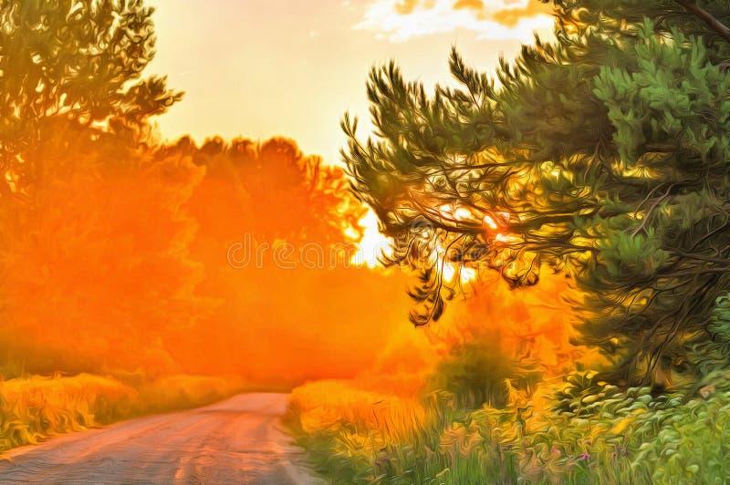 Skogväg på solnedgångtid fotografering för bildbyråer