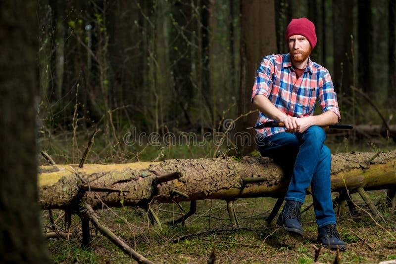 Skogvaktare med ett skägg som vilar på ett stupat träd arkivbilder