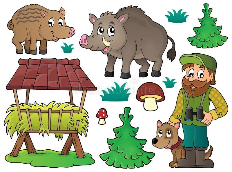 Skogvaktare- och djurlivtemauppsättning 1 vektor illustrationer