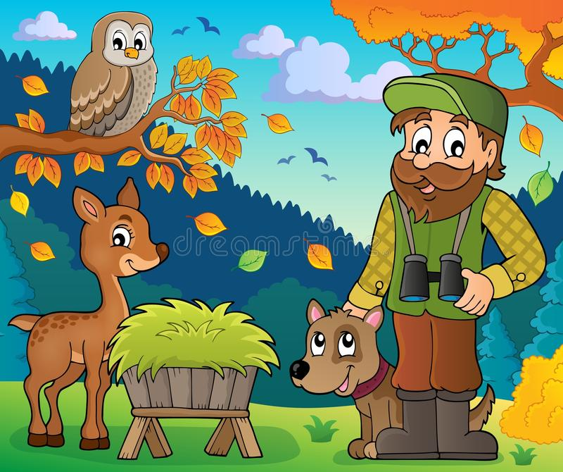 Skogvaktaretemabild 7 royaltyfri illustrationer