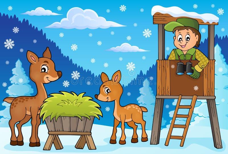 Skogvaktarevintertema 2 stock illustrationer
