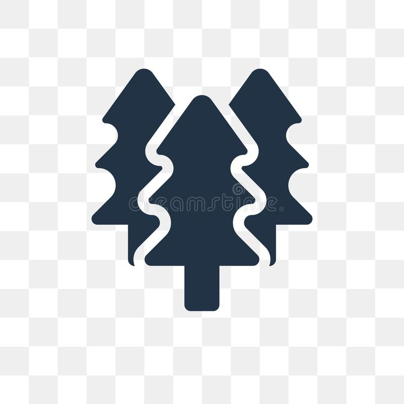 Skogvektorsymbol som isoleras på genomskinlig bakgrund, skog t royaltyfri illustrationer