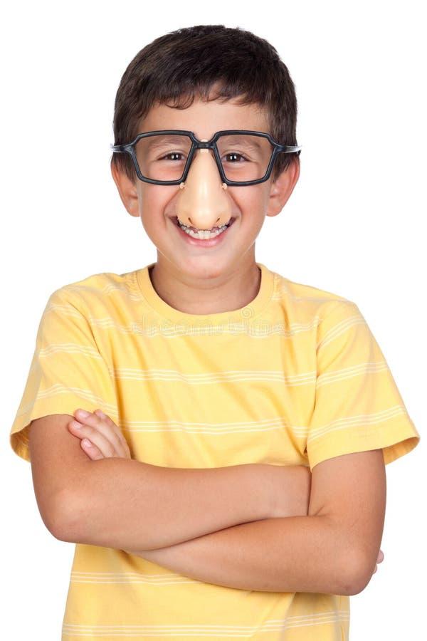 skojar roliga exponeringsglas för barn näsan arkivbild