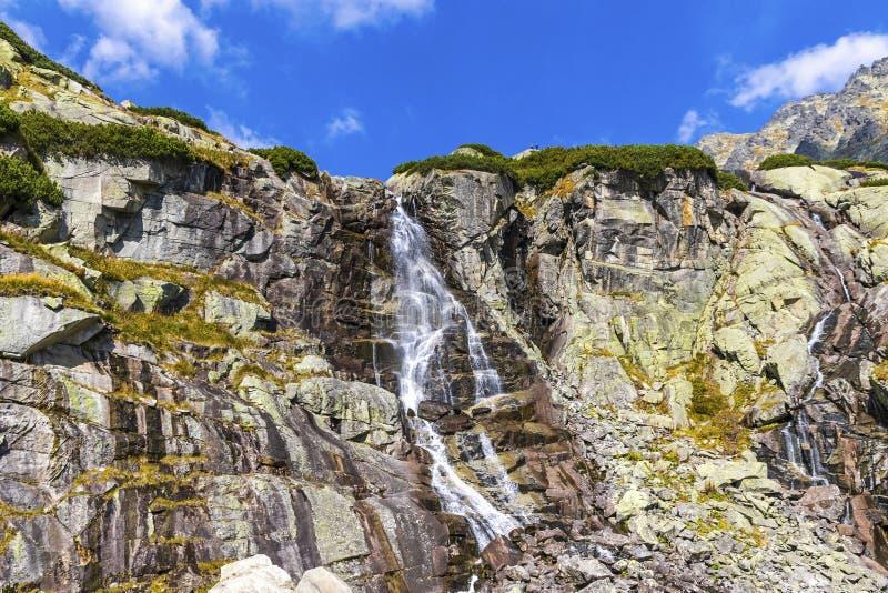 Skok vattenfall i höga Tatras berg Vysoke Tatry, Slovakien royaltyfria bilder