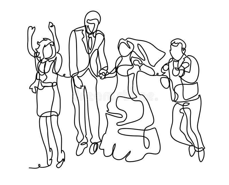 Skok w dniu ślubu kilka apaszkę krystaliczna biżuteria zwiąż ślub Ciągły kreskowy rysunek Odizolowywający na białym tle Wektorowy ilustracji