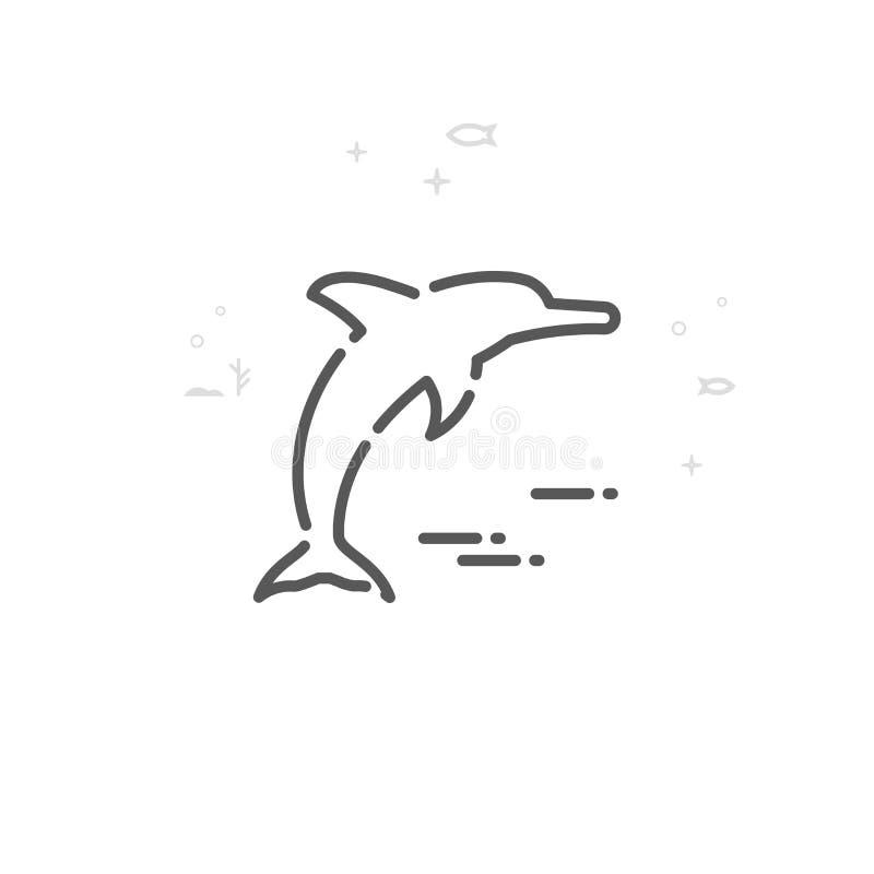Skokowa delfinu wektoru linii ikona, symbol, piktogram, znak Lekki abstrakcjonistyczny geometryczny tło Editable uderzenie ilustracja wektor