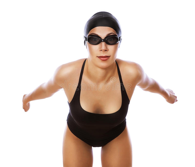 Skokowa pływaczka w swimsuit obraz royalty free