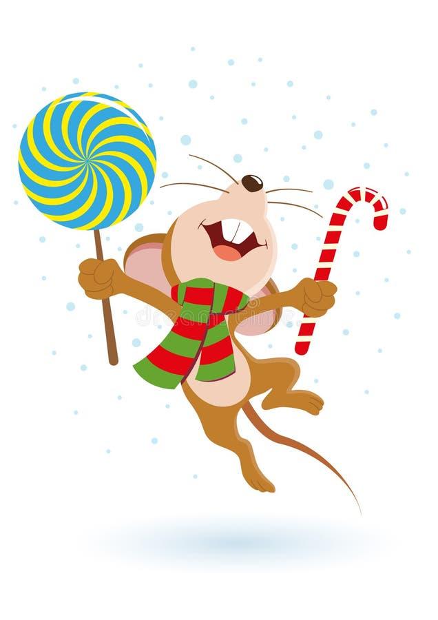 Skokowa szczęśliwa mysz ilustracji