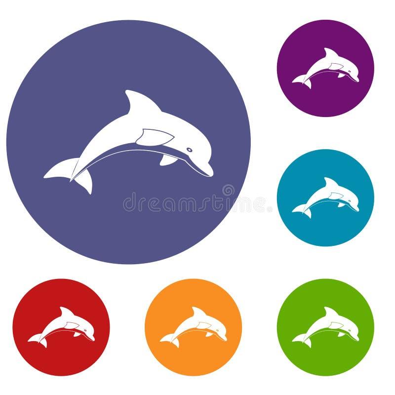Skokowe delfin ikony ustawiać ilustracji
