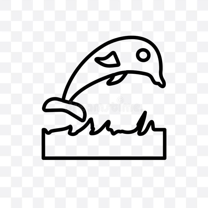 Skokowego delfinu wektorowa liniowa ikona odizolowywająca na przejrzystym tle, Skokowy delfin przezroczystości pojęcie może używa royalty ilustracja