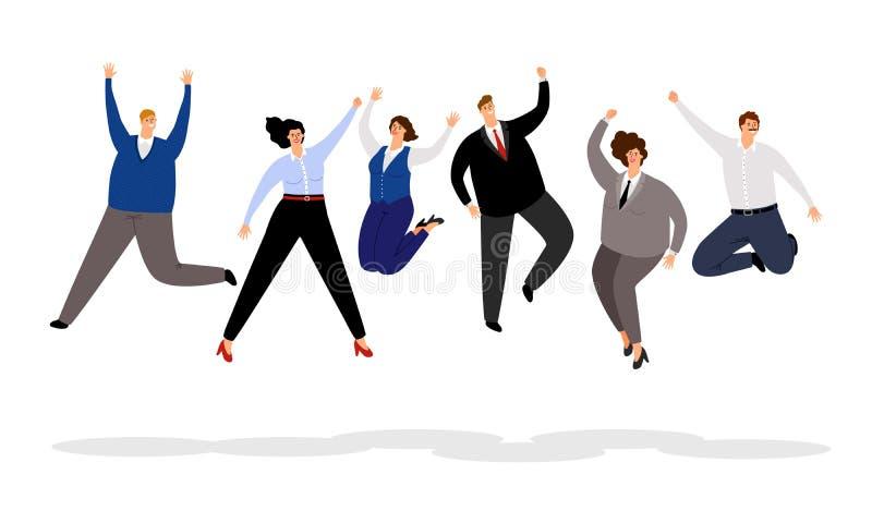 Skokowi ludzie biznesu Szczęśliwi biurowi ludzie wygrywa ilustraci, radosnych i uśmiechniętych kreskówka biznesmenów, i royalty ilustracja