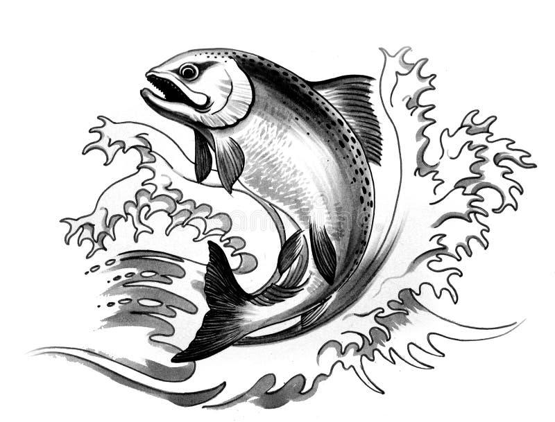Skokowy łosoś ilustracja wektor