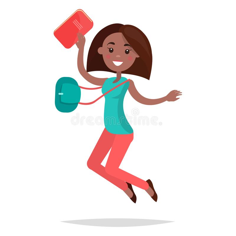 Skokowy Afrykański dziewczyna uczeń z notatnikiem i torbą zdjęcie stock