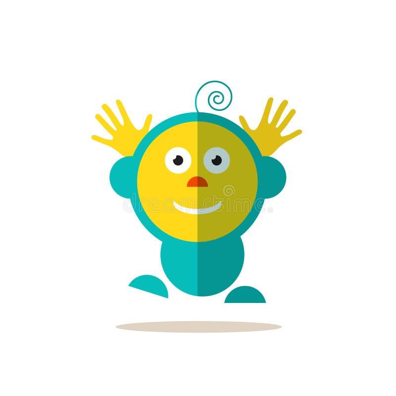 Skokowy dziecko Ostry Wektorowy Avatar Odizolowywający ilustracji