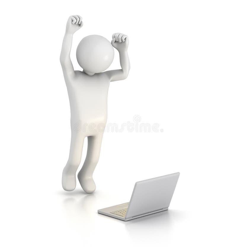 skokowy radość laptop royalty ilustracja