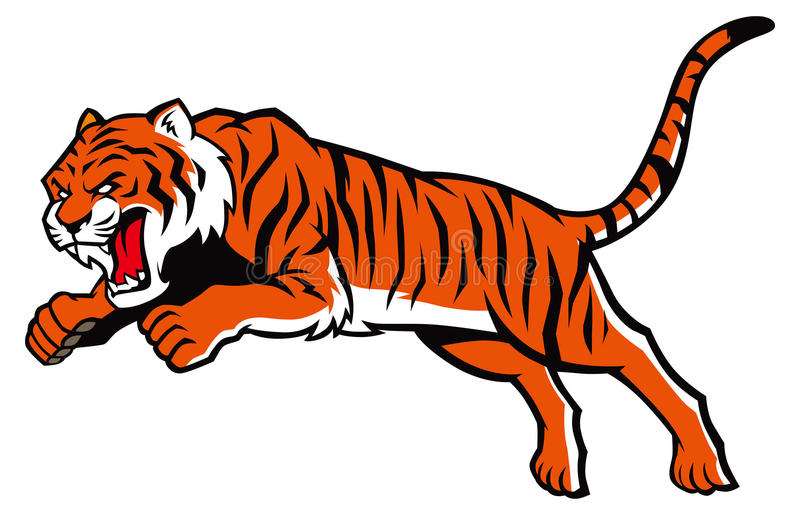 Skokowy tygrys ilustracji