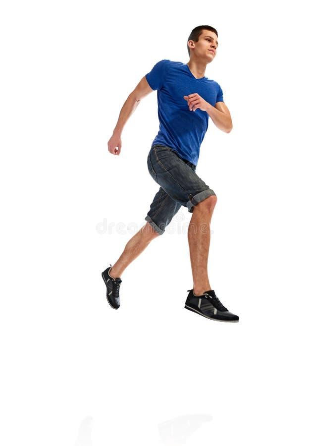 Skoku mężczyzna biegacz obraz royalty free