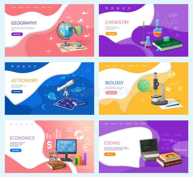 Skolämne-, utbildnings- och kunskapsbaner stock illustrationer