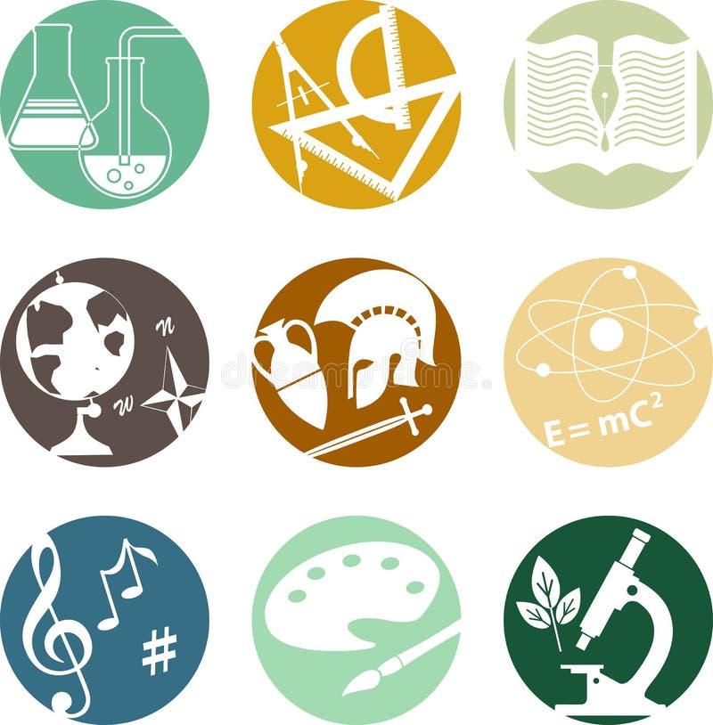 Skolämnesymboler royaltyfri illustrationer