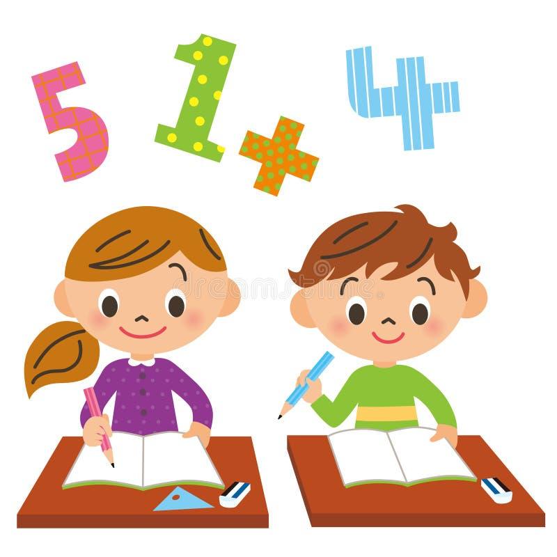 Skola barn, studie stock illustrationer