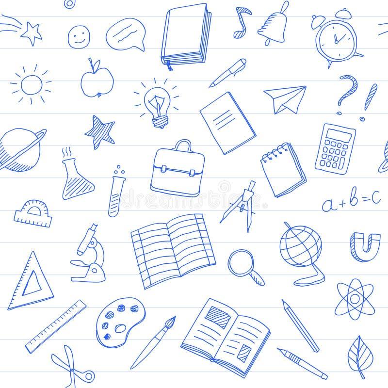 Skola den sömlösa modellen med blåttpennklotter utformar på vit bakgrund vektor illustrationer