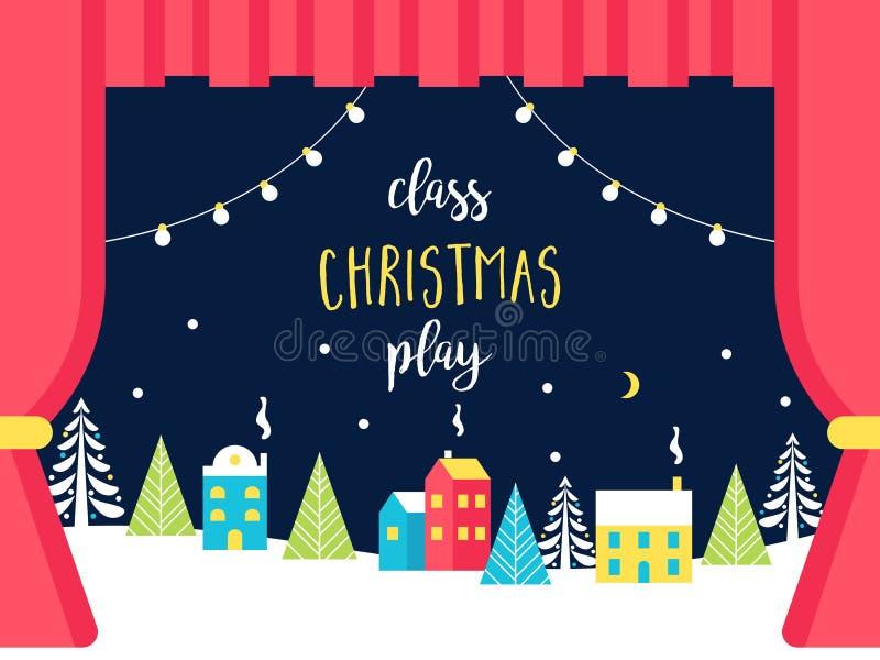Skola- eller teateretappgarneringar för jul eller lek för nytt år Snöig vinterunderland och ljusgirlander grupp royaltyfri illustrationer