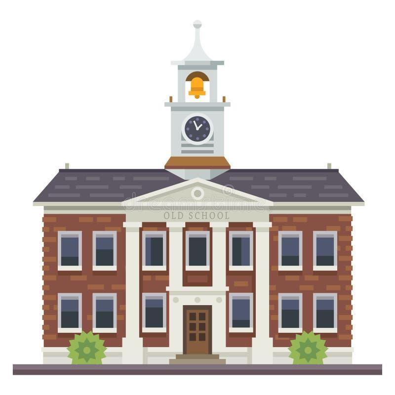 Skola- eller universitetbyggnad Utbildning stock illustrationer