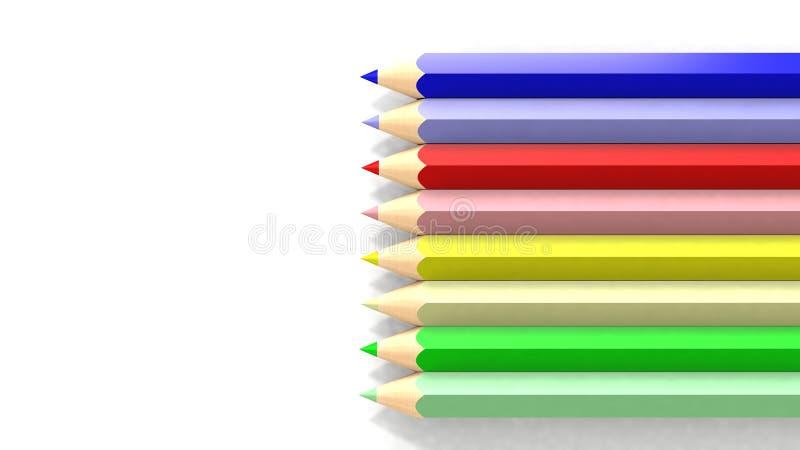 Skola färgade blyertspennor på vit bakgrund stock illustrationer