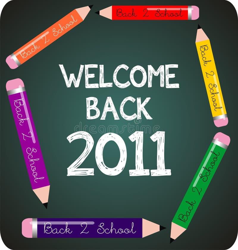 skola för 2011 back som ska välkomnas royaltyfri illustrationer