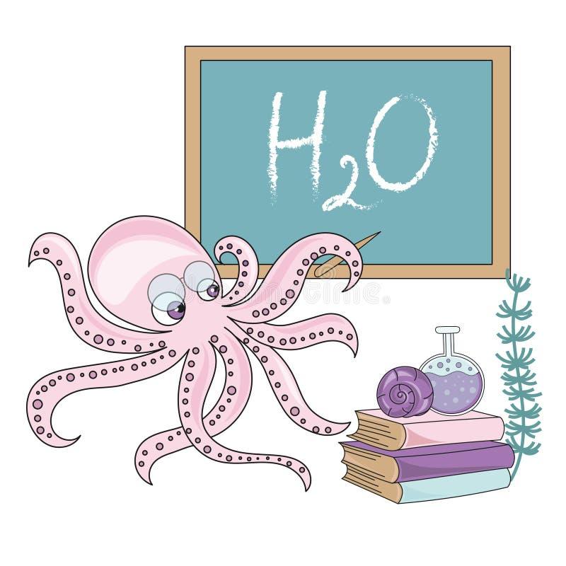 SKOLA för BLÄCKFISK för skolaAutumn Sea Underwater Vector Illustration uppsättning stock illustrationer
