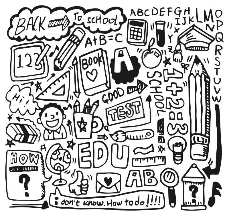 skola för drawelementhand vektor illustrationer