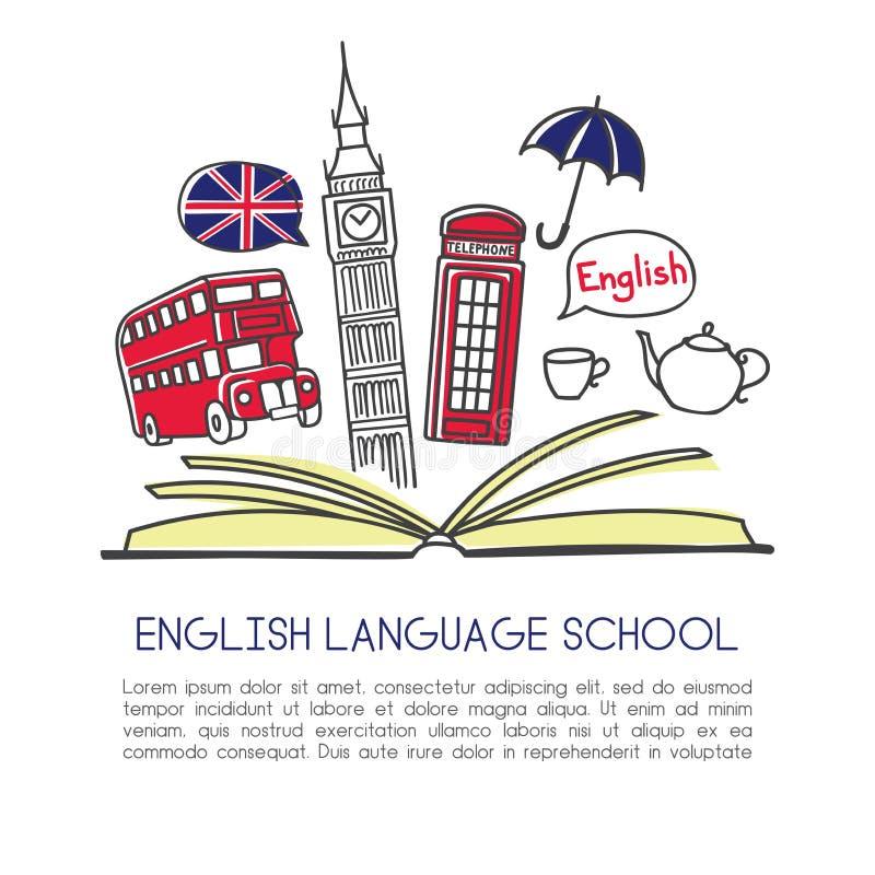 Skola för engelskt språk för vektorillustration med symboler av London royaltyfri illustrationer