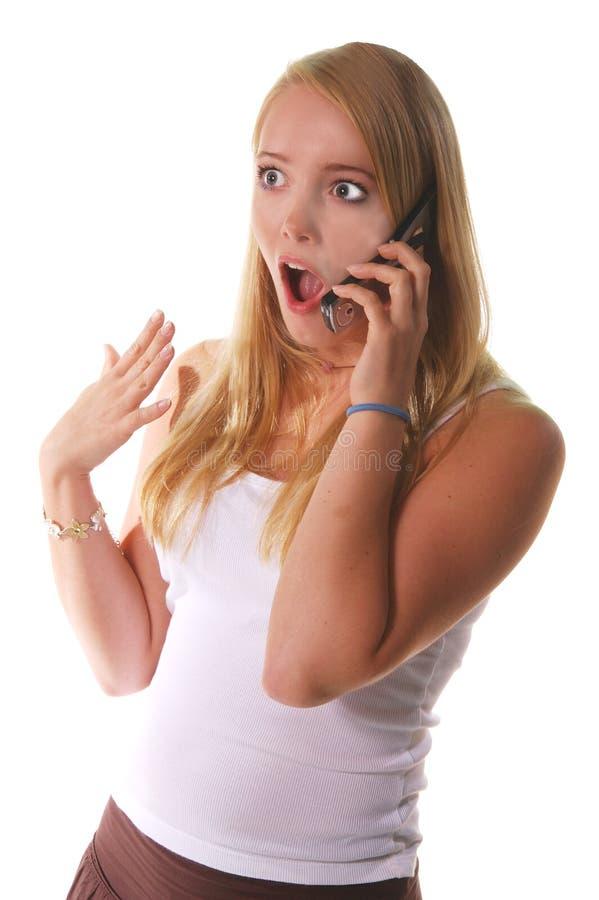 skola för telefon för cellflicka hög royaltyfria bilder