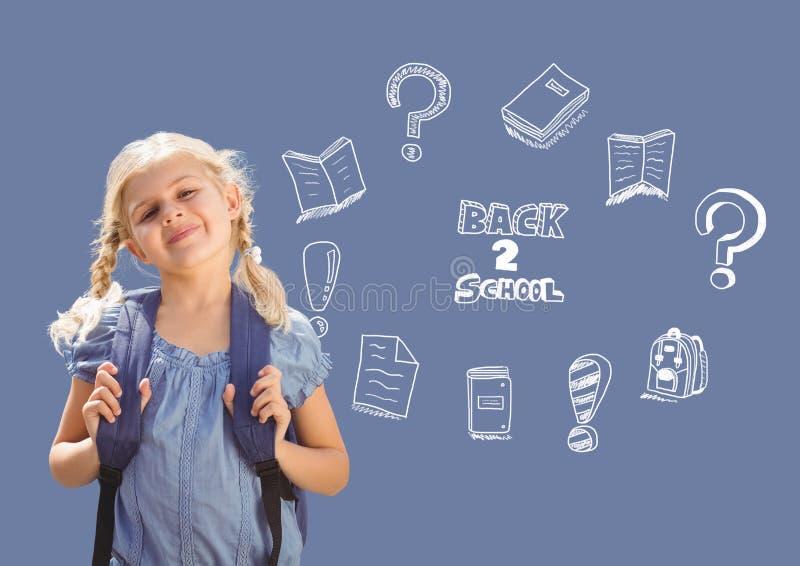 Skola flickan och tillbaka till skolutbildningteckningen på svart tavla för skola fotografering för bildbyråer
