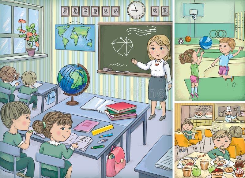 Skola inom vektor illustrationer