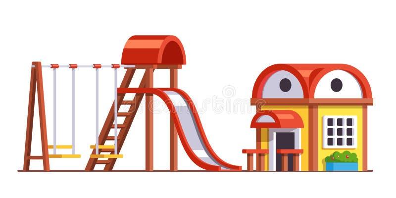 Skola lekplatsen med glidbanan och gungor för ungar stock illustrationer
