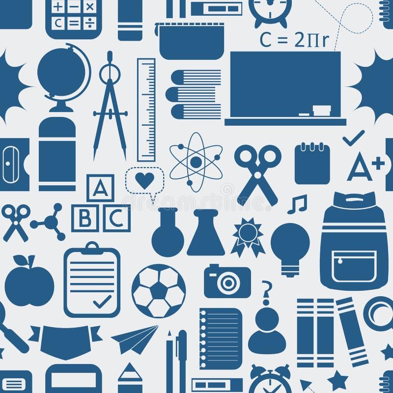 Skola och bildande symboler, bakgrund och sömlös modell royaltyfri illustrationer
