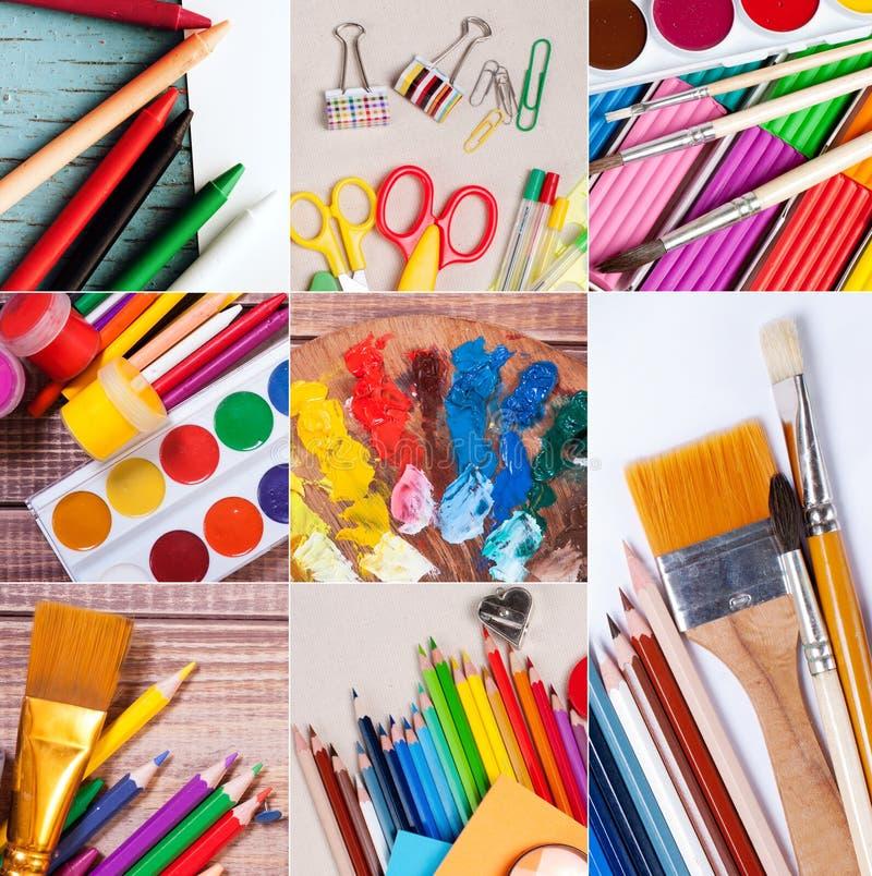 Skola- och kontorstillförselsamling fotografering för bildbyråer