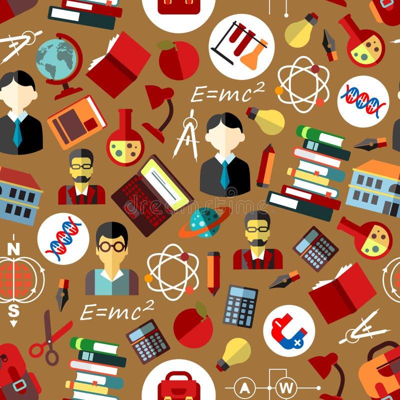 Skola och sömlös modellbakgrund för vetenskap royaltyfri illustrationer