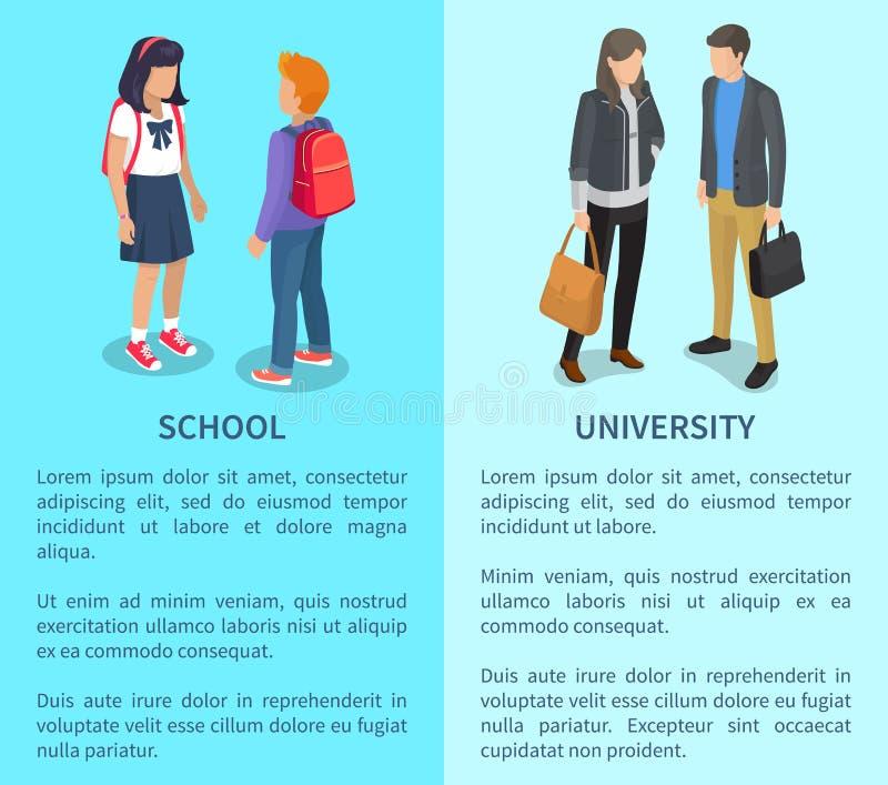 Skola- och universitetaffischer med inskrifter stock illustrationer
