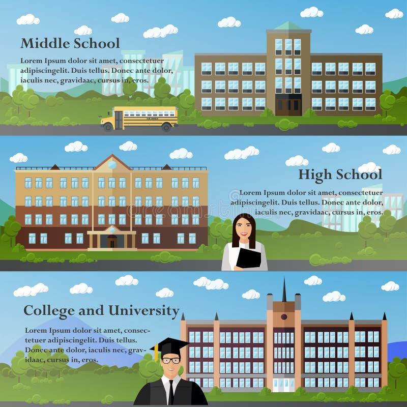 Skola- och universitetbyggnadsvektor vektor illustrationer