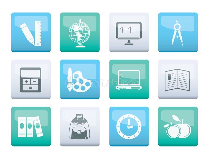 Skola- och utbildningssymboler över färgbakgrund stock illustrationer